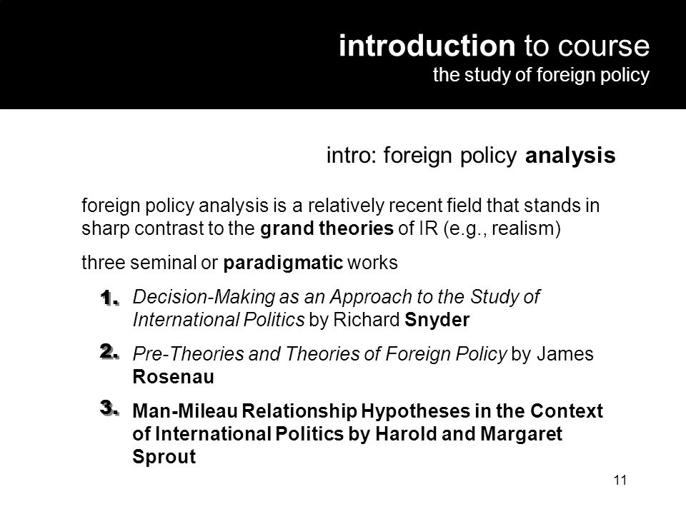 introduction to course the study of foreign policy