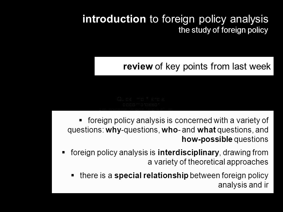 introduction to foreign policy analysis the study of foreign policy