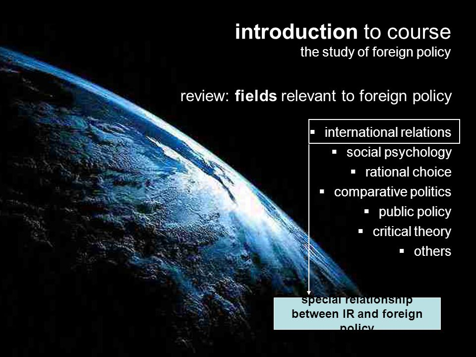 special relationship between IR and foreign policy
