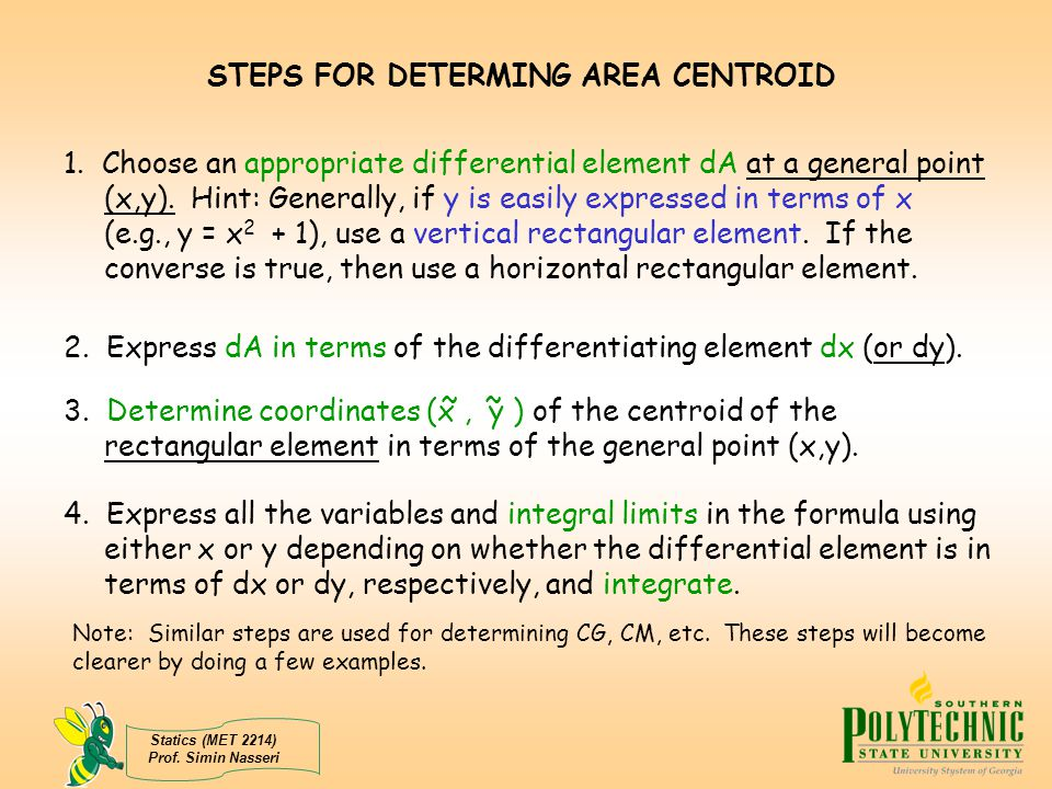 STEPS FOR DETERMING AREA CENTROID