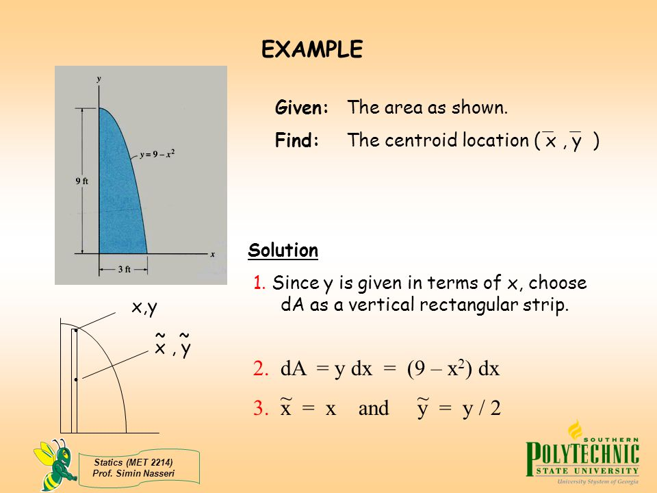 EXAMPLE 2. dA = y dx = (9 – x2) dx 3. x = x and y = y / 2 ~