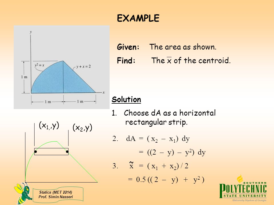 EXAMPLE Given: The area as shown. Find: The x of the centroid.
