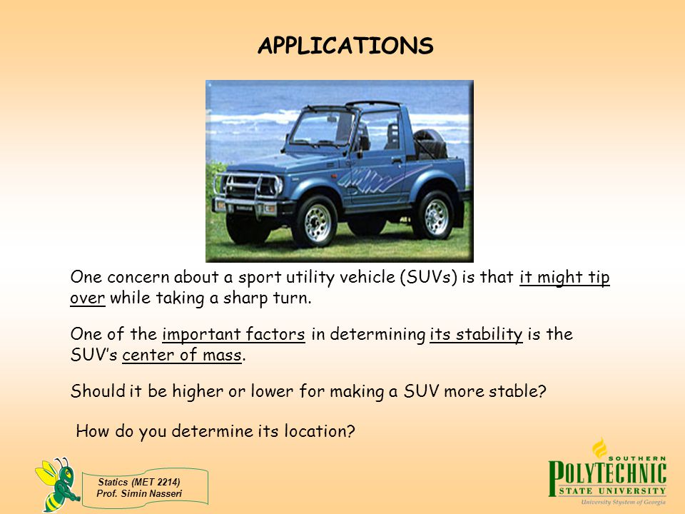 APPLICATIONS One concern about a sport utility vehicle (SUVs) is that it might tip over while taking a sharp turn.