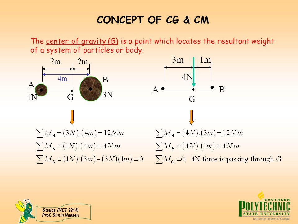 CONCEPT OF CG & CM  • 3m 4N 1m A B G B A   • G m m 3N 1N