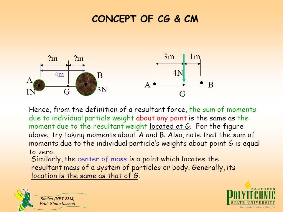 CONCEPT OF CG & CM  • 3m 4N 1m A B G B A   • G m m 3N 1N 4m