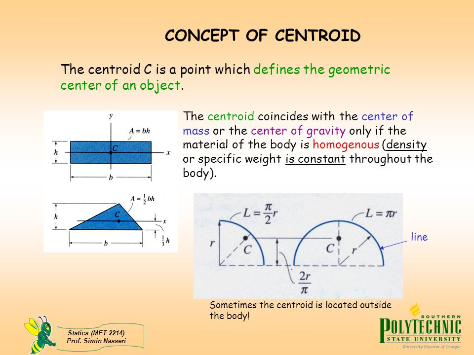 CONCEPT OF CENTROID The centroid C is a point which defines the geometric center of an object.