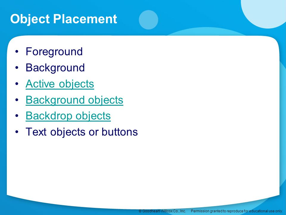 Object Placement Foreground Background Active objects