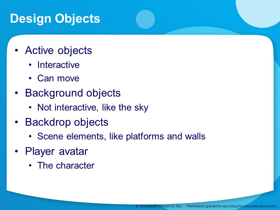 Design Objects Active objects Background objects Backdrop objects