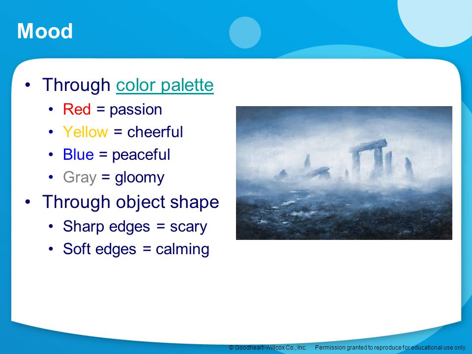 Mood Through color palette Through object shape Red = passion