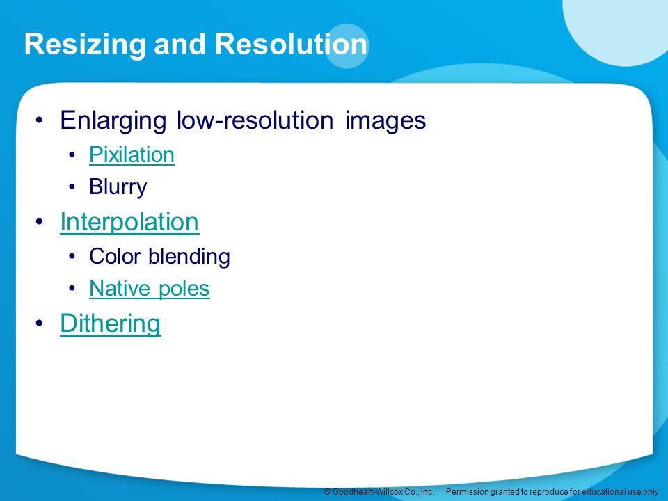 Resizing and Resolution