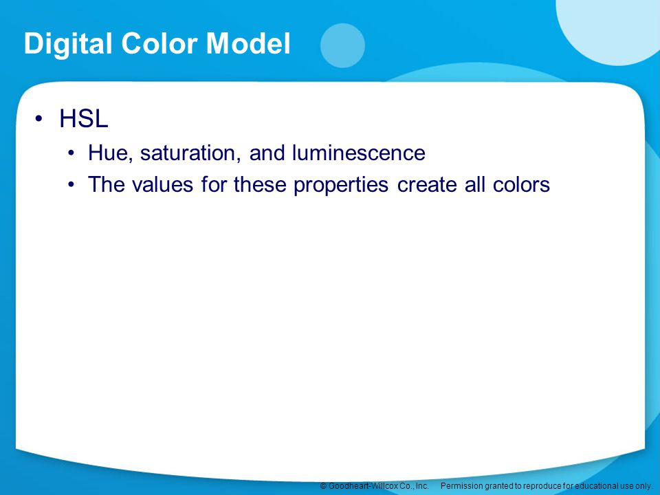 Digital Color Model HSL Hue, saturation, and luminescence