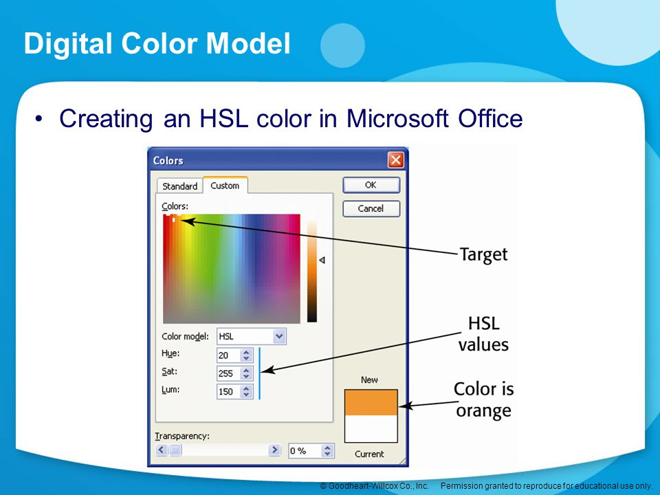 Digital Color Model Creating an HSL color in Microsoft Office