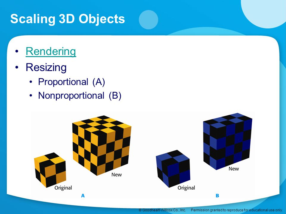 Scaling 3D Objects Rendering Resizing Proportional (A)