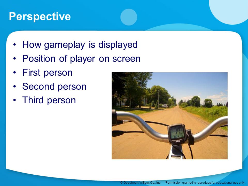 Perspective How gameplay is displayed Position of player on screen