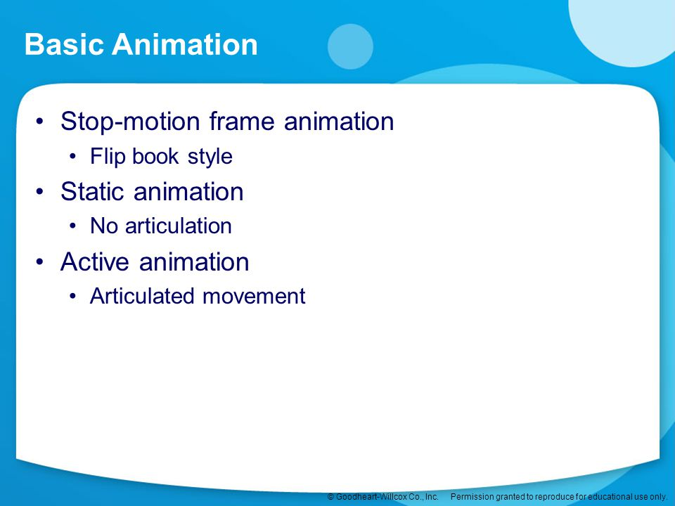 Basic Animation Stop-motion frame animation Static animation