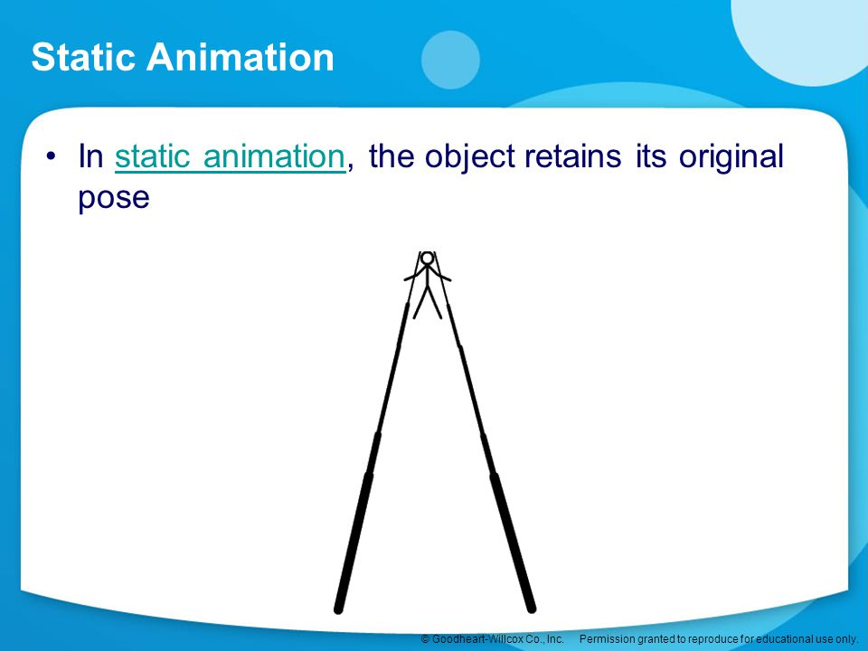 Static Animation In static animation, the object retains its original pose