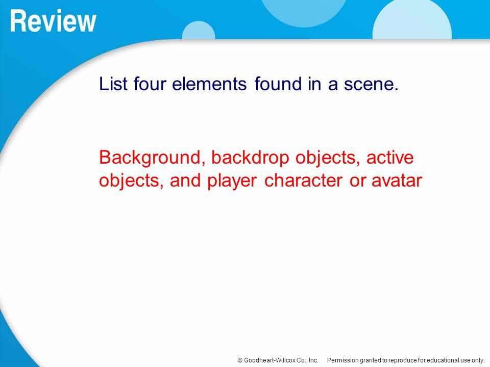 List four elements found in a scene.