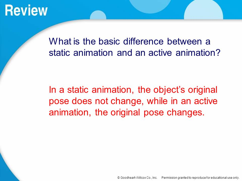 What is the basic difference between a static animation and an active animation