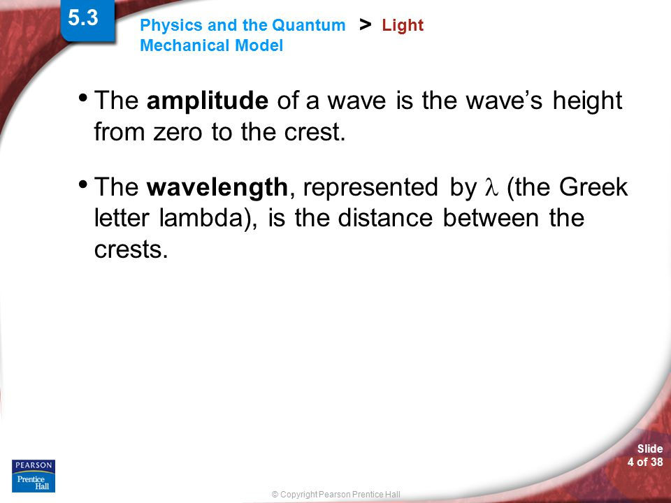 The amplitude of a wave is the wave's height from zero to the crest.