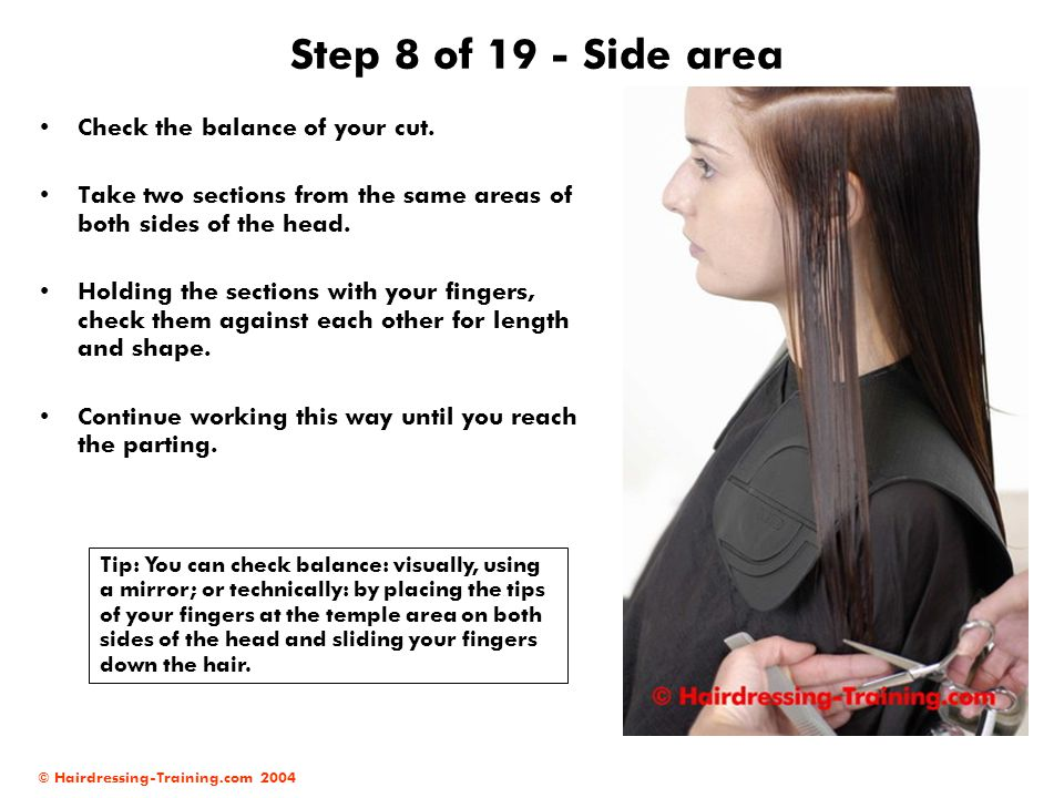 Step 8 of 19 - Side area Check the balance of your cut.