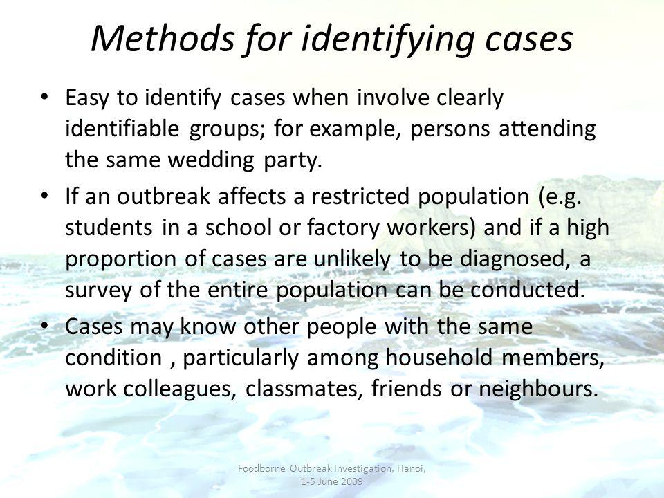 Methods for identifying cases