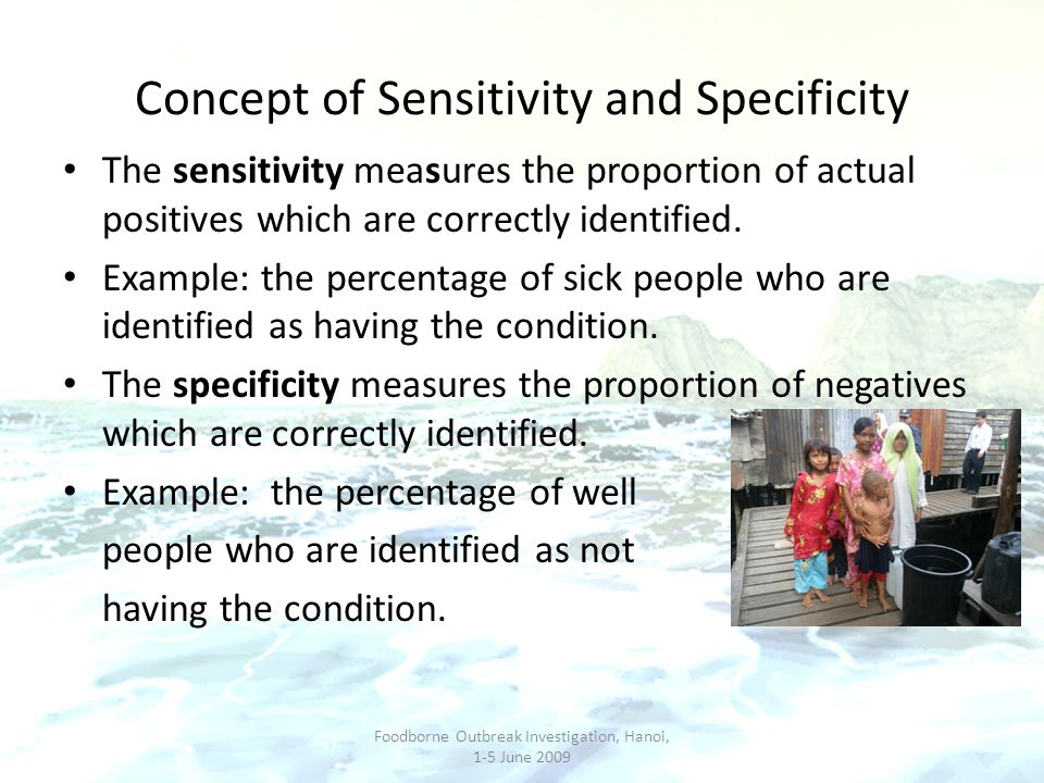 Concept of Sensitivity and Specificity