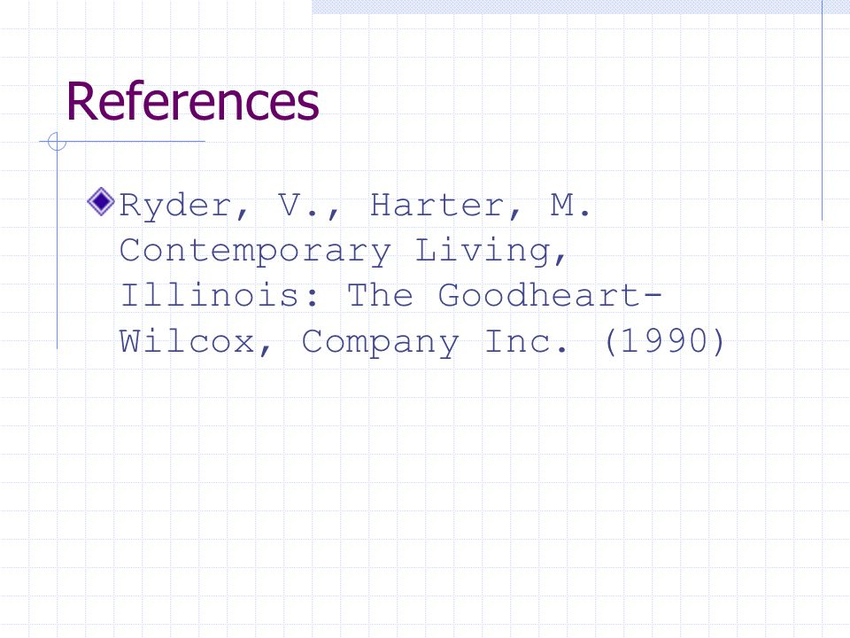 References Ryder, V., Harter, M. Contemporary Living, Illinois: The Goodheart-Wilcox, Company Inc.