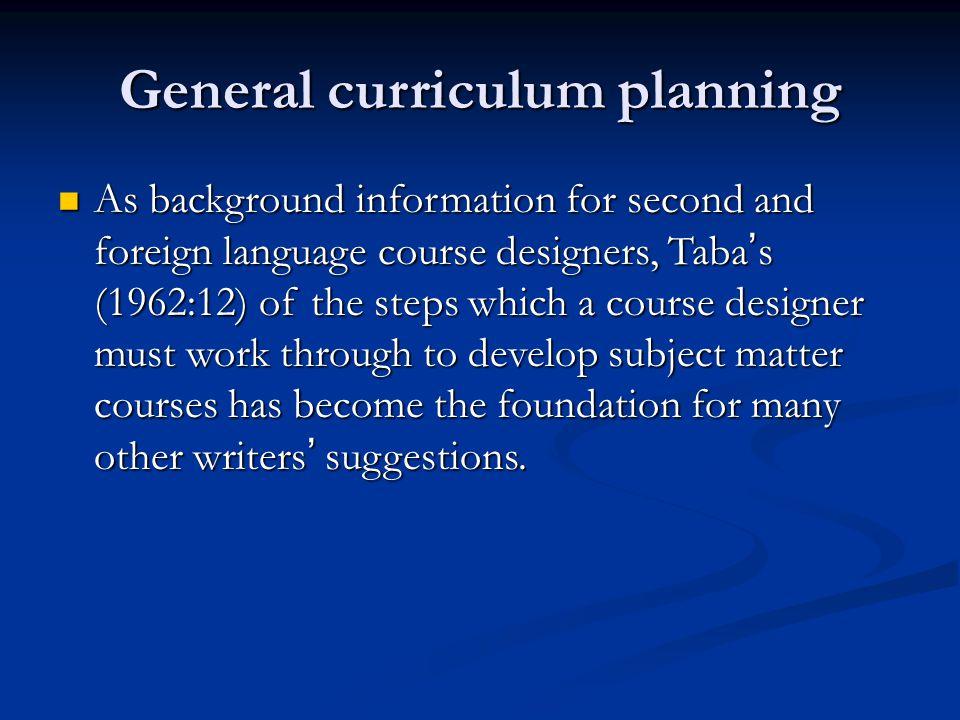 General curriculum planning