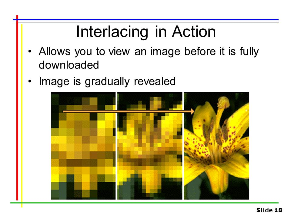 Interlacing in Action Allows you to view an image before it is fully downloaded.