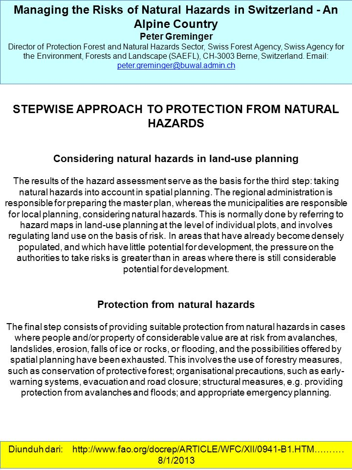 STEPWISE APPROACH TO PROTECTION FROM NATURAL HAZARDS
