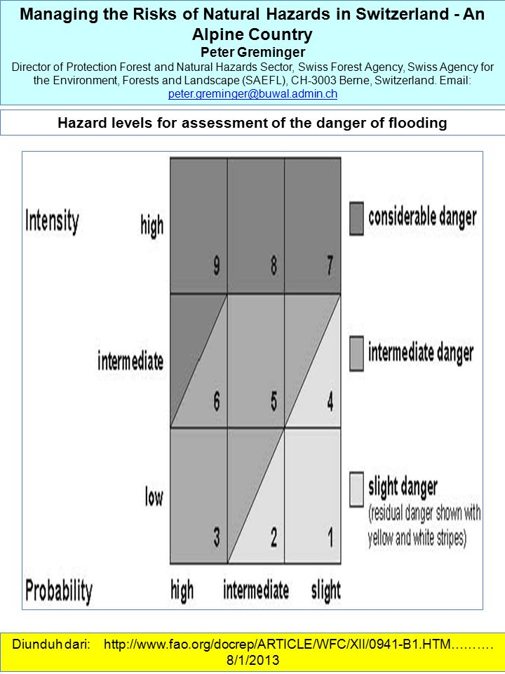 Hazard levels for assessment of the danger of flooding