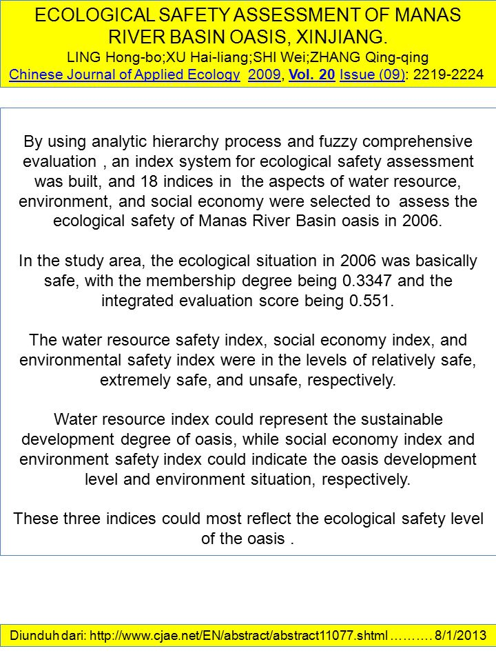 ECOLOGICAL SAFETY ASSESSMENT OF MANAS RIVER BASIN OASIS, XINJIANG.