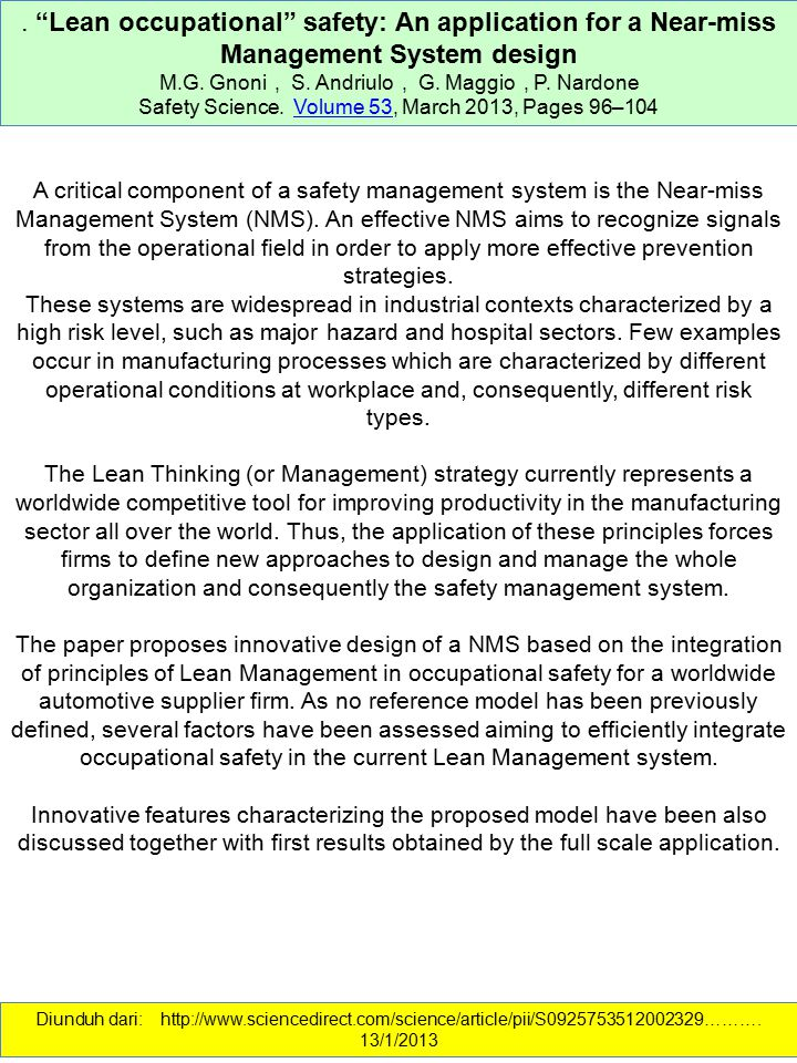 . Lean occupational safety: An application for a Near-miss Management System design