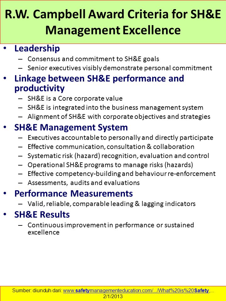 R.W. Campbell Award Criteria for SH&E Management Excellence