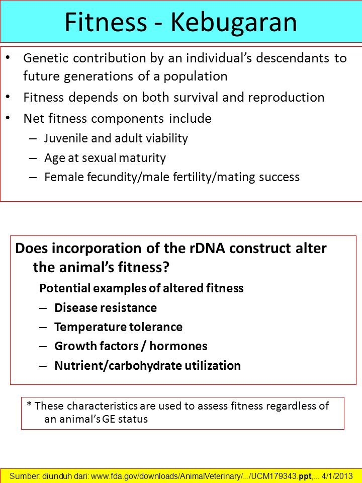 Fitness - Kebugaran Genetic contribution by an individual's descendants to future generations of a population.