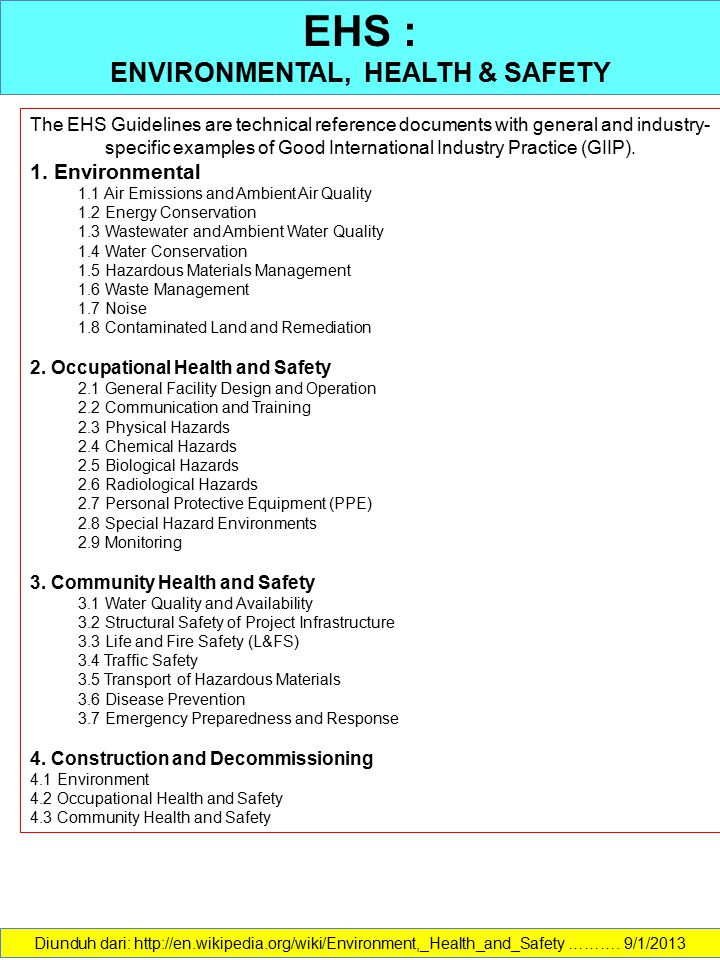 ENVIRONMENTAL, HEALTH & SAFETY