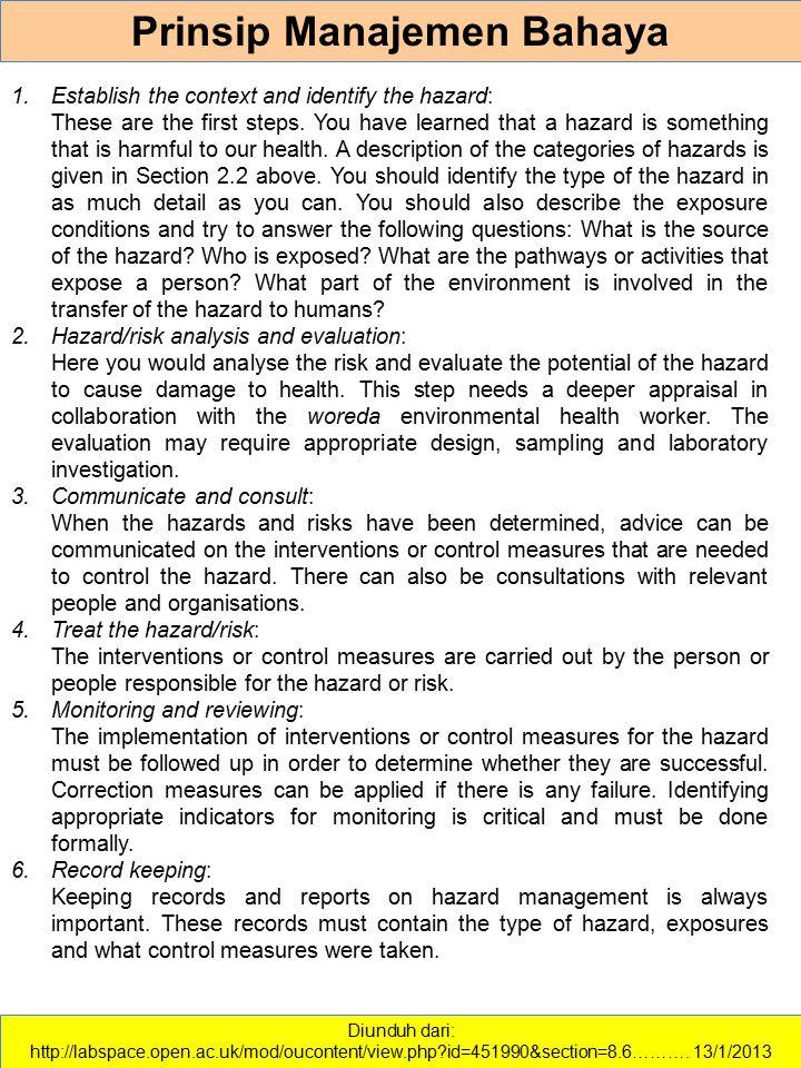 Prinsip Manajemen Bahaya