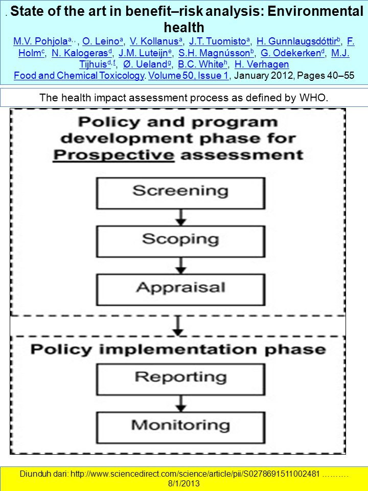 The health impact assessment process as defined by WHO.