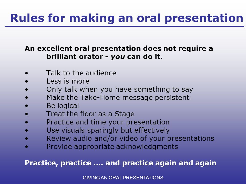 GIVING AN ORAL PRESENTATIONS