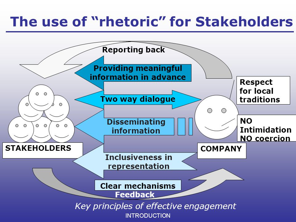 The use of rhetoric for Stakeholders
