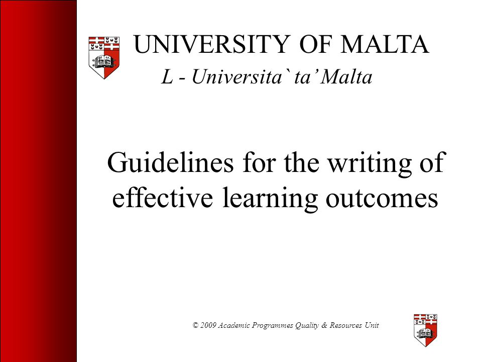 Guidelines for the writing of effective learning outcomes