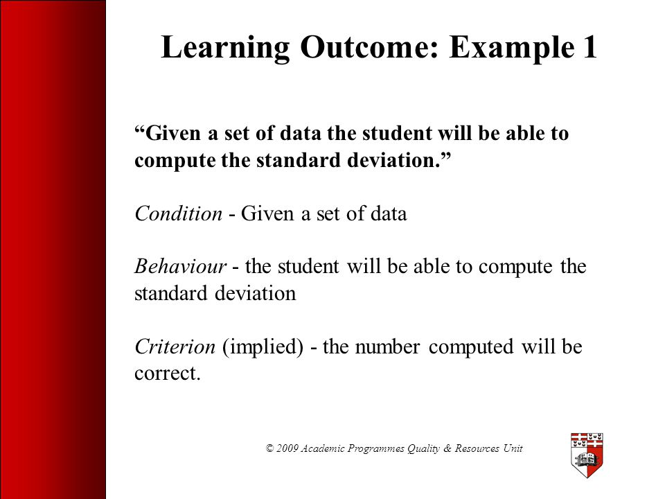 Learning Outcome: Example 1