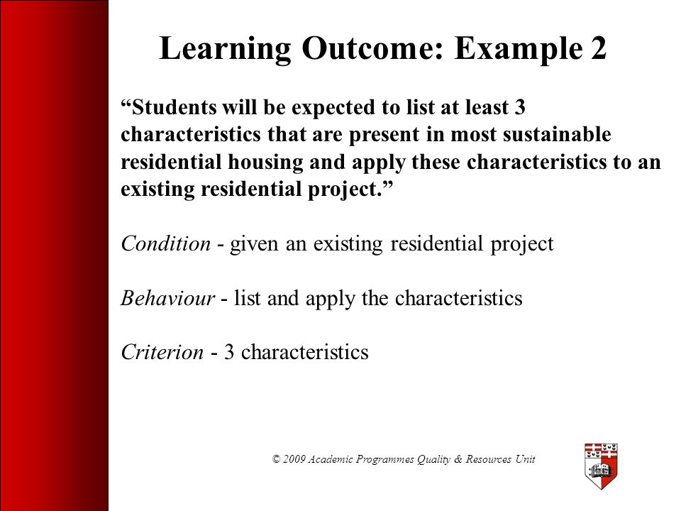 Learning Outcome: Example 2