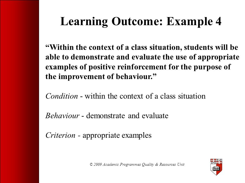 Learning Outcome: Example 4