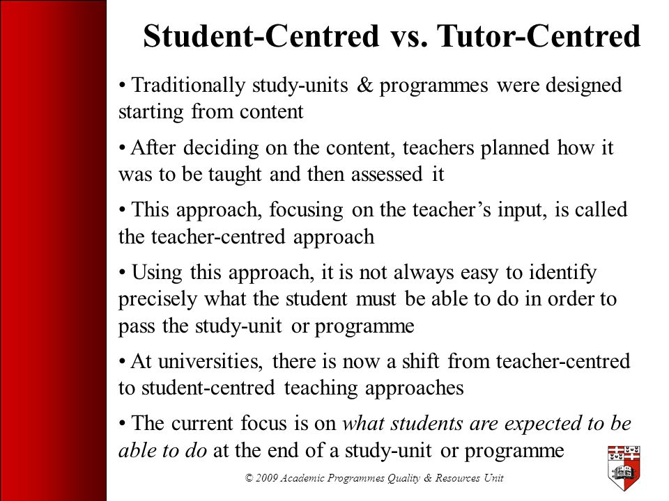 Student-Centred vs. Tutor-Centred