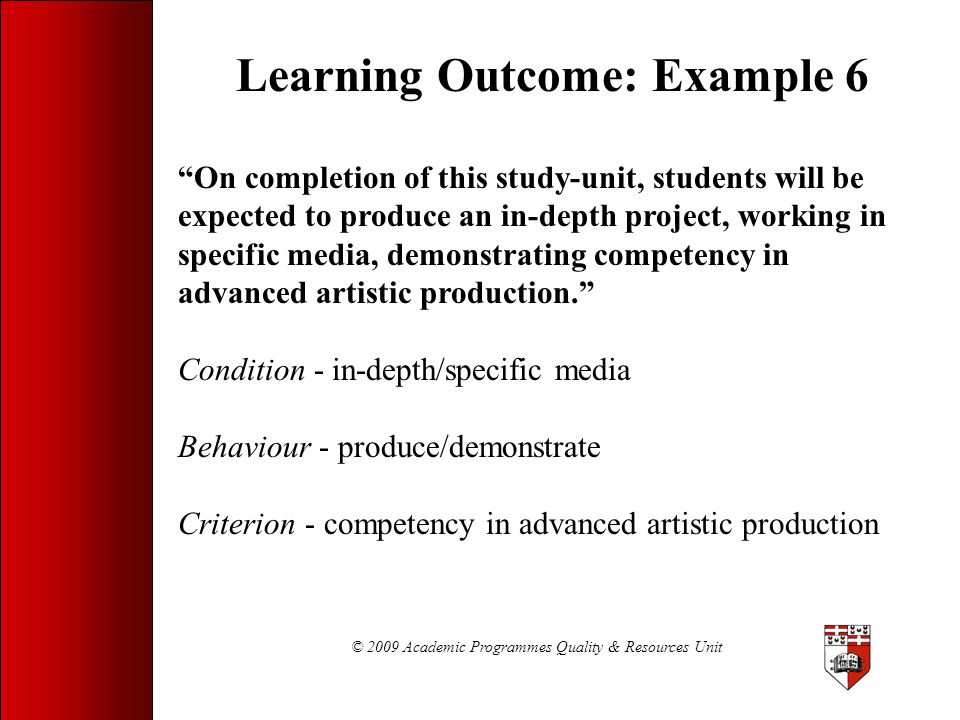 Learning Outcome: Example 6