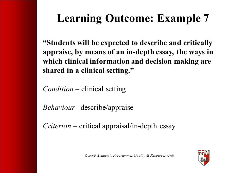 Learning Outcome: Example 7