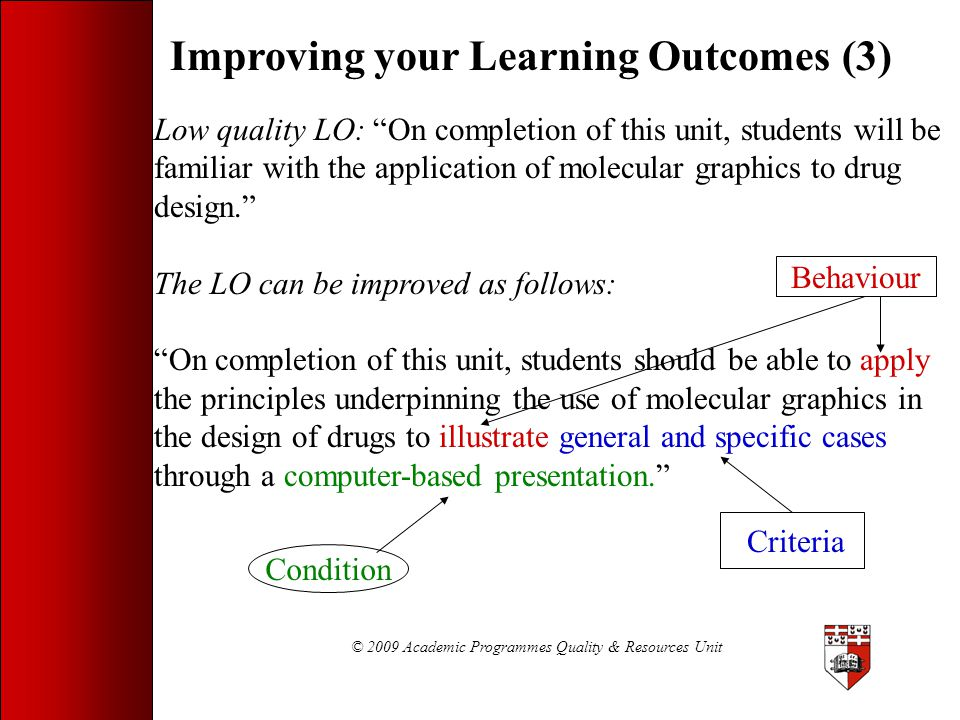 © 2009 Academic Programmes Quality & Resources Unit