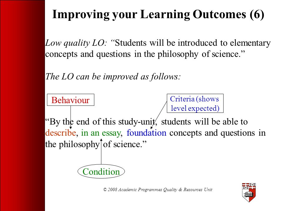 © 2008 Academic Programmes Quality & Resources Unit
