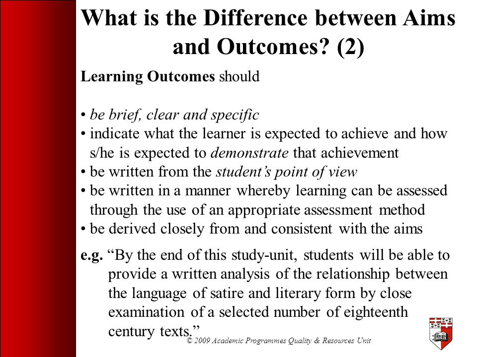 What is the Difference between Aims and Outcomes (2)